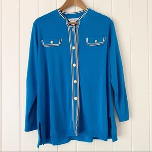 Exclusively Misook Peacock Blue Cardigan Sweater